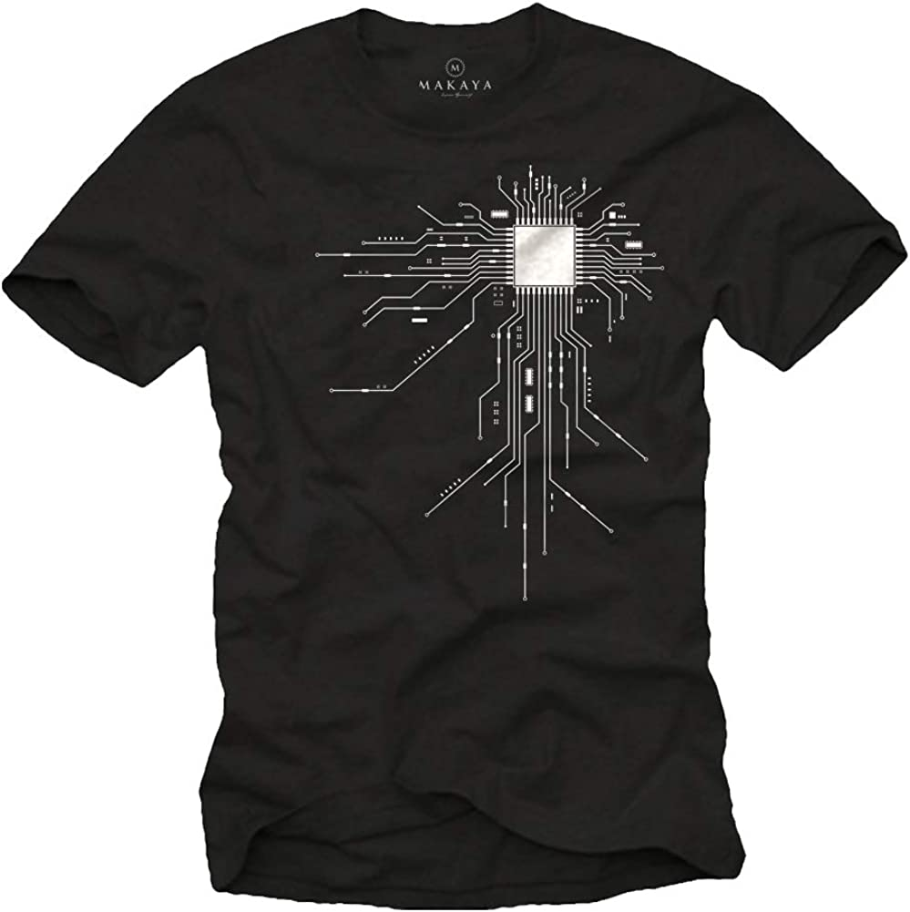 MAKAYA Men's Bombing new Cheap SALE Start work Geek T-Shirt Print CPU Gamer