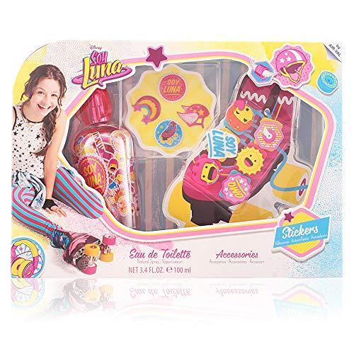 Disney Soy Luna Geschenk-Set für Mädchen (Eau de Toilette 100ml, Sticker-Set, Skate Accessoires: kreativer Rollschuh-Schmuck)