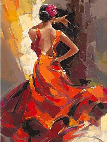 Pintura por números para niños Adultos Diy lienzo preimpreso, Apasionada bailarina española Pintura al óleo pintada a mano de Arte Decoración del hogar para un amigo de Regalo de juguete