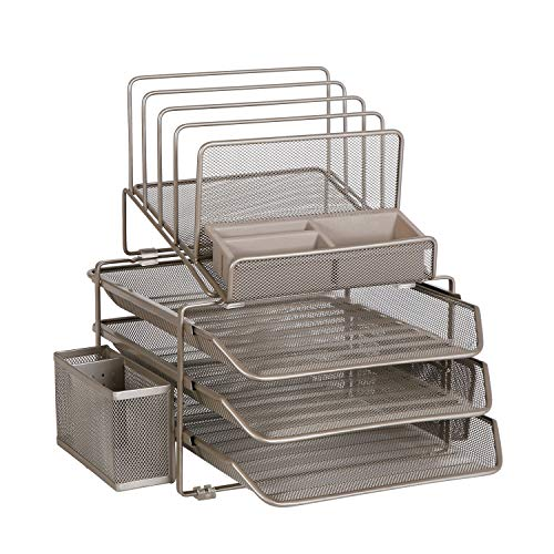 DESIGNA Stackable Mesh Desk Organizer with 3 Sliding Letter Trays 4 File Holders 2 Side Compartments & Pencil Holder Non-slip All In One Desk Accessories Organizers Office Storage, Champagne