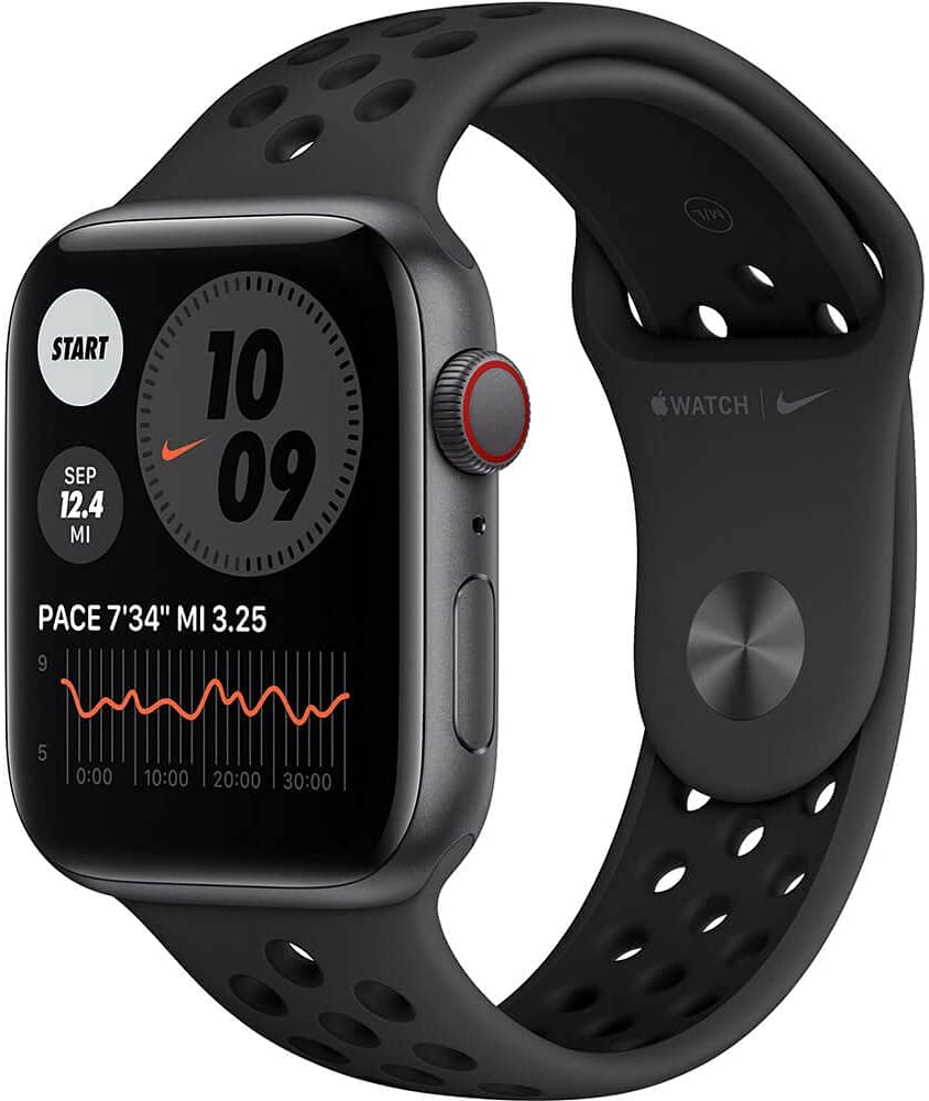 Apple Watch Nike SE GPS + Cellular, 44mm Space Gray Aluminum with Anthracite/Black Nike Sport Band