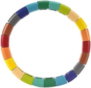 Coolcos Enamel Tile Beads Round Beads for Colorblock Bracelets Trendy Tila Jewelry Friendship Bracelet