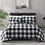 EXQ Home Quilt Set Full/Queen Size 3 Piece,Lightweight Microfiber Coverlet Modern Style Black and White Squares Pattern Bedspread Set(1 Quilt,2 Pillow Shams)