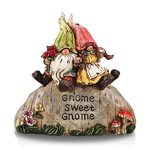 TERESA'S COLLECTIONS Statue da Giardino Gnomo da Giardino, Coppia di Gnomi Seduti sulla Pietra per Decorazione da Giardino Nano per Esterno 20cm