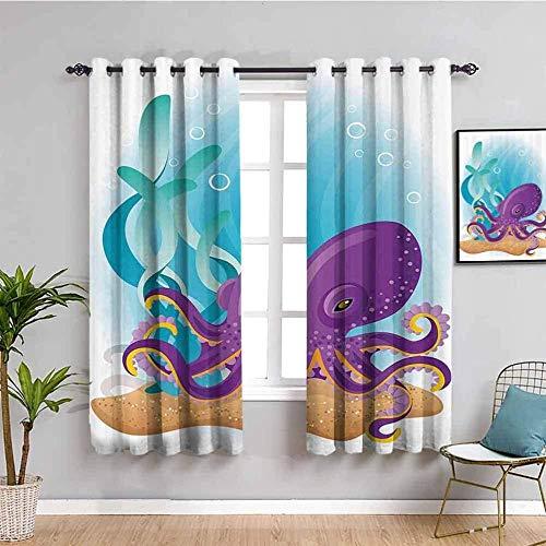 LucaSng Cortinas de Opacas - Color Dibujos Animados Pulpo océano - 183x160 cm - para Sala Cuarto Comedor Salon Cocina Habitación - 3D Impresión Digital con Ojales Aislamiento Térmico Cortinas