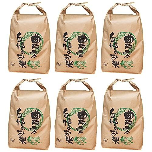 山形県ブレンド米 玄米 業務用 コスパ良好 令和元年産 (玄米 30kg(5kg×6袋), 無洗米に精米)