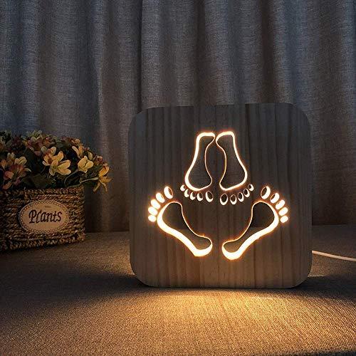 Lámpara de mesa Lámpara de mesa grande peque?a huella luz de noche de madera 3D hueco USB decoración creativa lámpara de mesa LED dormitorio habitación de los ni?os cumplea?os 19 19cm escritorio
