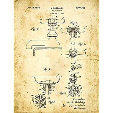 Homebody Accents Bath Faucet Patent Drawing Metal Sign, Vintage, Bath, Bathroom, Steampunk, Industrial Décor