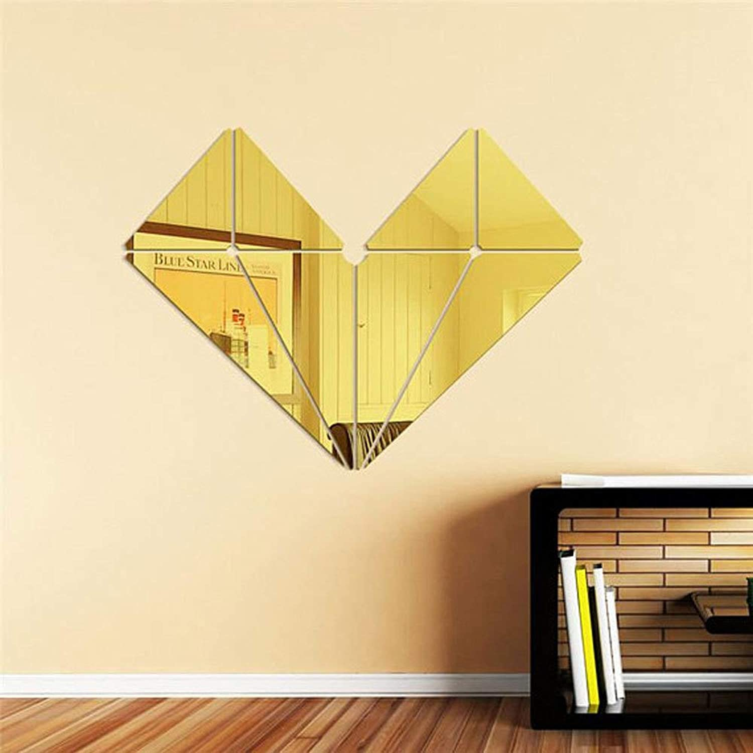 3D Mirror Wall Sticker 3D Acrylic Modern Mirror Wall Sticker Geometric Puzzle DIY Mural Decal Home Room Decoration (color   gold)