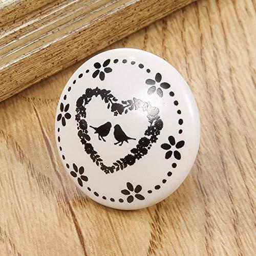 1 STKS Zwart-wit Gedrukt Decoratieve Ronde Keramische Knop, Kast Hardware, Moderne Garderobemeubilair Deurklink Lade trekt, 11, Verenigde Staten