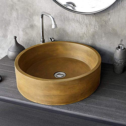 Magnus Home Products Krupp Round Cast Concrete Vessel Bathroom Sink, Vintage Brown, 36.0 lb