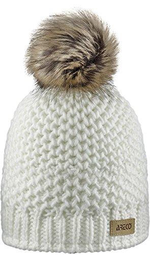 Areco Damska czapka z pomponem biały biały Rozmiar uniwersalny