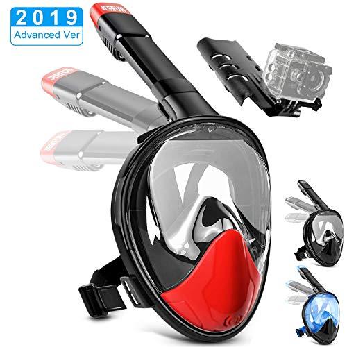Jerfun Tauchermaske Schnorchelmaske Vollmaske Tauchmaske Vollgesichtsmaske mit Anti-Fog Anti-Leck, Abnehmbare Kamerahalterung und Schnalle für Erwachsene und Kinder (Rot, L/XL)