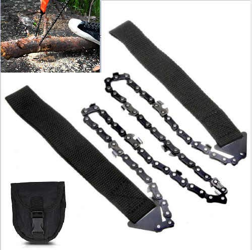 XXDD Portable Handheld Survival Chain Saw Bidirectional Chain Pocket Hand Chainsaw, for Gardening Survival Outdoor Camping Wood Cutting Camping Backpacking Hiking Hunting (Black)
