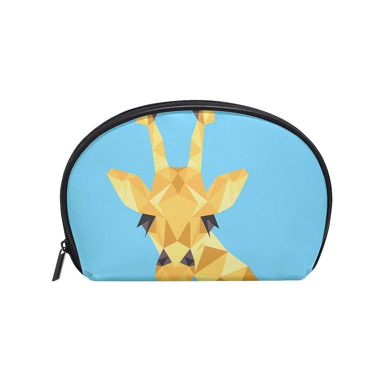 とても冒険者機関半月型 キリン動物アフリカ 化粧ポーチ コスメポーチ コスメバッグ メイクポーチ 大容量 旅行 小物入れ