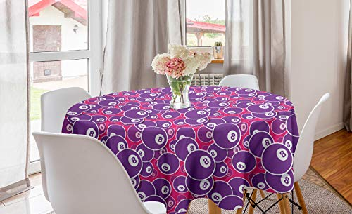 ABAKUHAUS Biljart Rond Tafelkleed, Pool 8 Balls Sports Theme, Decoratie voor Eetkamer Keuken, 150 cm, Magenta Purple and White
