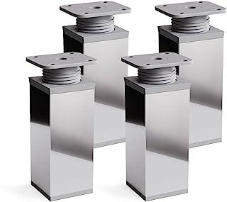 Patas para muebles, 4 piezas, altura regulable   Perfil cuadrado: 40 x 40 mm   Sossai® MFV1-CH   Diseño: Cromo   Altura: 60mm (+20mm)   Tornillos incluidos