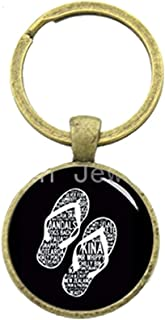 Leisure flip flops key chain retro charm letters slipper pattern keychain