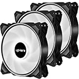 upHere 120mm 3PIN Case Fan Low Noise High Airflow Ultra Quiet High Performance White LED Ring Fan for PC Cases, Computer Cooling,3 Pack,DP12WT3