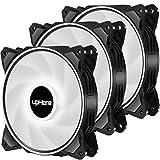 upHere Ventilateur de boîtier de 120 mm avec Effet de Streaming Blanc LED pour Le Refroidissement de l'ordinateur,3 pin 3pack(DP12WT3)