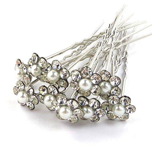 20pcs Wedding Bridal Pearl Flower Rhinestone Crystal Hair Pins Clips Grips by Broadfashion
