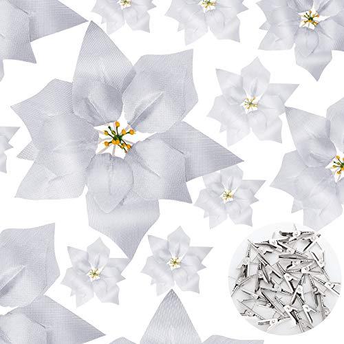 24 Piezas de Flores de Pascua Artificiales de Navidad Adornos de Flores de Árbol de Navidad Decoración de Poinsettia Falsa...