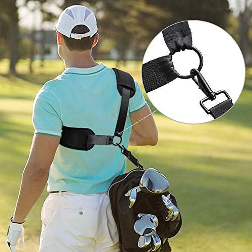 Shoulder Strap 58' Golf Bag Strap Replacement Padded Adjustable Heavy Duty Metal Hook Carry Strap for Duffle,Violin,Laptop,Surfboard,Snowboard Ergonomic Bag Strap-Black