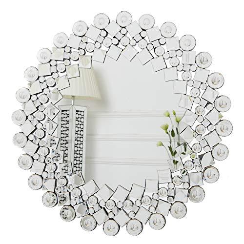 RICHTOP Sunburst Espejo de Pared con Mosaico enjoyado Brillante, diseño Ahuecado, Espejo de Cristal Plateado Moder Moder para Sala de Estar 70cm x 70cm …