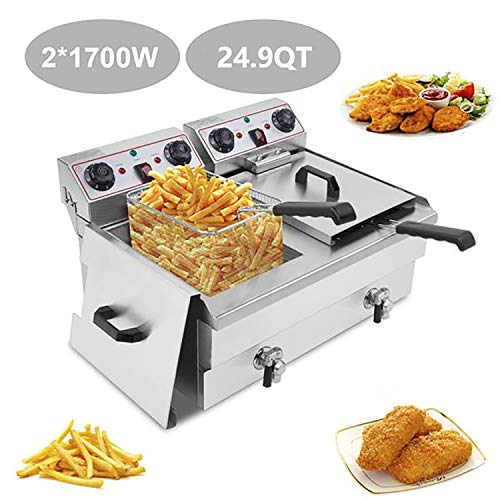 ROOJER Deep Fryer with Basket & Lid, 3400W 24.9-Quart Stainless Steel French Fryer with Timer & Thermostat for Turkey, French Fries, Donuts, Easy to Clean