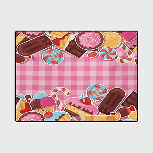Ice Cream Patio Rugs Kitchen Rugs Non Skid Candy Cookie Sugar Lollipop Cake Ice Cream Girls Design Baby Pink Chestnut Brown Caramel 6 x 7 Ft