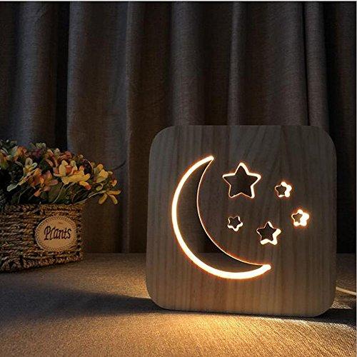 OOFAY Night Light@ 3D Illusion Lampe LED Veilleuse Créatif Étoiles De Lune Forme Lumières Sculpture Art du Bois Lampe De Tableau/Lumière d'alimentation D'usb+Changer De Ligne De Données