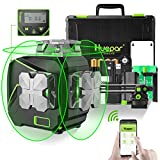 Huepar 12 Lines 3D Self-Leveling Laser Level with LCD Screen 3x360°Bluetooth Connected Green Beam Cross Line Laser Level Tool -360° Horizontal/Vertical Laser Line -Remote Control&Hard Carry Case S03CG