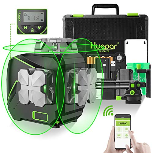 Huepar 12 Lines 3D SelfLeveling Laser Level with LCD Screen 3x360°Bluetooth Connected Green Beam Cross Line Laser Level Tool 360° Horizontal/Vertical Laser Line Remote ControlampHard Carry Case S03CG