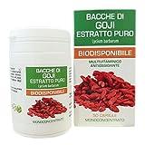 bacche di goji estratto puro naturfarma 50 vegan capsule da 500 mg | frutto estratto secco titolato al 50% in polisaccaridi
