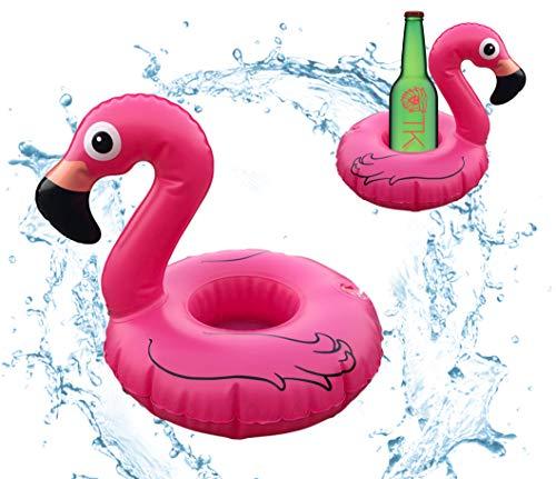 TK Gruppe Timo Klingler 24x Getränkehalter aufblasbar Luftmatratze Schwimmring Schwimmreif für Pool, Wasser, Cocktailhalter, Bierhalter, Becher, Dosenhalter, Becherhalter Bier (24x Flamingo)