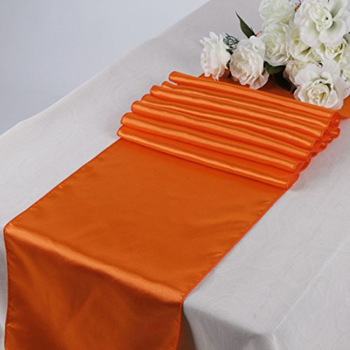 Events n Fabrics ENF Lot DE 20 Chemin de Table en Satin pour Mariage Banquet Fête Décoration de Cas, Satin SR09- Orange