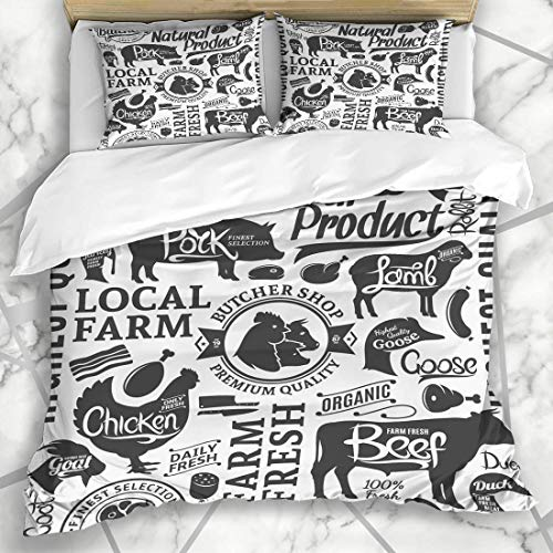 Jojun Duvet Cover Sets Butcher Typographic Butchery Pattern Food Livestock Drink Farm Sheep Ham Bacon Sausage Microfiber Bedding with 2 Pillow Shams Easy Care Anti-Allergic Soft Smooth
