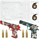 4 Pieces Gun Bullet Epoxy Resin Molds Different Shapes Silicone Handgun Casting Mold with 2 Golden Magic Mirror Powder Perfect for DIY Projects Handcraft Toy Pistol Making Home Decoration