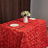 Wedding Tablecloths Red 3D Floral Table Cloth 50x80 Inches Romantic Rosette Table Covers for Bridal Party Table Linens