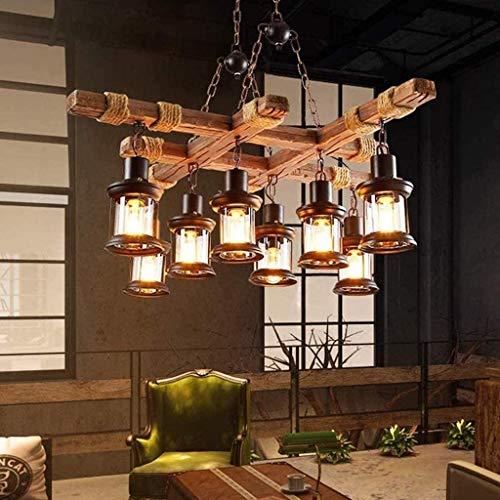 Retro Pendellampe LED Vintage Pendelleuchte Rustikale Holzbalken Edison Hängende Deckenleuchte Hölzerne Art-Hängende Höhenverstellbar Industrielle Loft Bar Küche Esszimmer Hängelampe Industrie Lampen
