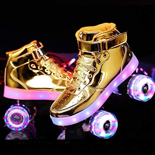 HHMGYH Rollschuhe Damen, Rollerskates Mädchen Roller Skates mit LED-Licht Double Line Skates 4 Wheels Two Line Skating Schuhe für Erwachsene,Gold,30