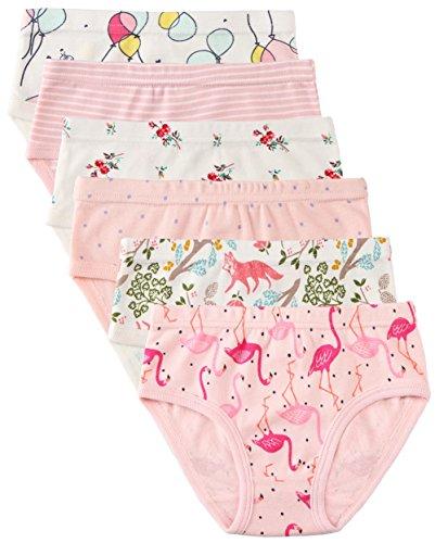"""6 Paquet Petite Fille sous-vêtements Coton Fit Âge 1-7, Undies Fille de Bébé Panties Bambin Fille (Flamant, 1-3 Ans/Taille 15.6"""", Hauteur 33"""" -37"""")"""