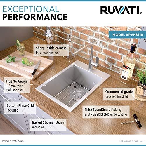 Ruvati 15 x 20 inch Drop-in Topmount Bar Prep Sink 16 Gauge Stainless Steel Single Bowl - RVH8110
