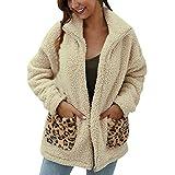 Fossen MuRope Abrigos de Mujer Invierno Largos Rebajas Elegantes, Sudadera Mujer de Leopardo Abrigos Desigual Mujer Nieve Felpa - Suéter Parkas Chicas, Blogger de Moda
