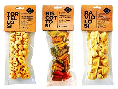 PetSnack Mix 3 pacchetti da 100gr. Tortellosi, Raviolosi e Biscottosi Human-Grade- Snack per il tuo amato cane
