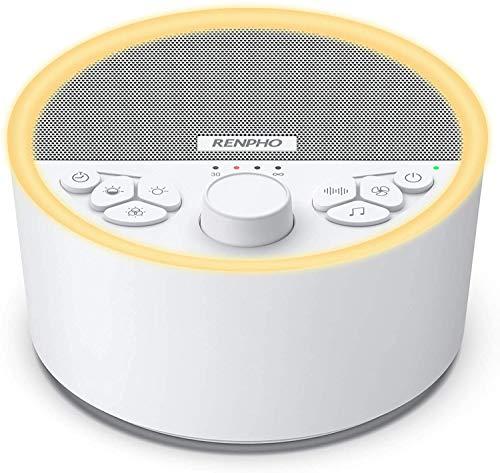 White Noise Machine, RENPHO Einschlafhilfe, weißes Rauschen für besseren Schlaf mit 29 beruhigenden Geräuschen und Nachtlicht, Akkubetrieb mit Kopfhörer-Anschluss für zuhause oder unterwegs, Baby