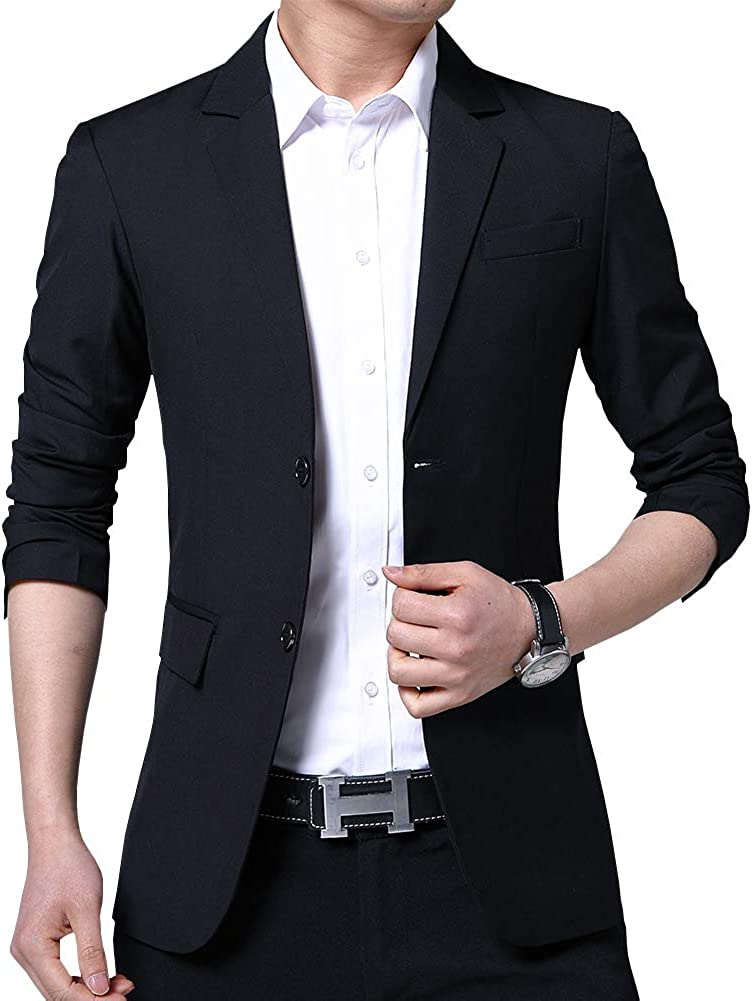 Womleys Mens Casual Daily Suit Jacket Two Buttons Slim Fit Business Blazer Sport Coats