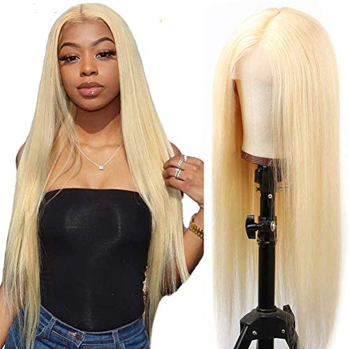 Hot Star HD 613 Blonde Lace Closure Wigs 4x4 613 Blonde Lace Front Wigs Human Hair 4x4 Blonde 613 Straight Frontal Human Hair Wigs for Women Natural Hairline 30 Inch