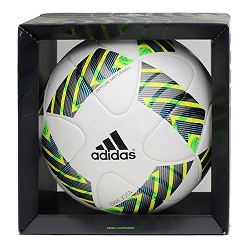 adidas Herren Fußball Errejota 2016 Match-Ball, White/Black/Blue Glow/Bright Yellow, 5