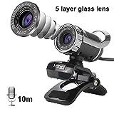 HLGQ Webcam 480P HD Fotocamera 12 Milioni di Pixel Built-in 10 Metri fonoassorbente Microfono con Visione Notturna e scattare Foto di Funzione di Sostegno Windows7 / 8,Nero,No Photo